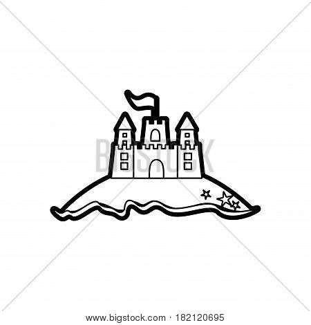black thick contour of beach and sandcastle with flag vector illustration