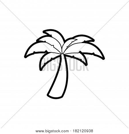 black thick contour of palm tree vector illustration