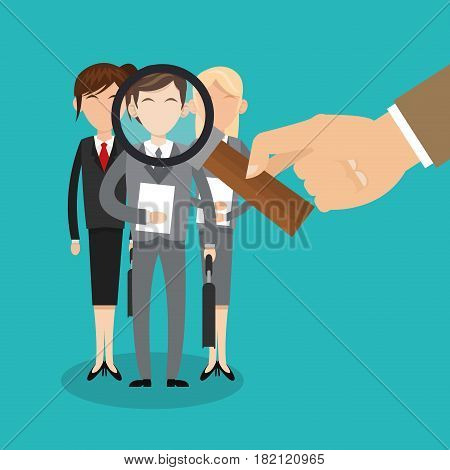 people and hand with magnifying glass icon over blue background. human resources concept. colorful design. vector illustration