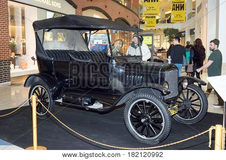 Moscow Russia - April 02 2017: Ford Model T USA 1924. Retro car exibition in shopping mall Metropolis.