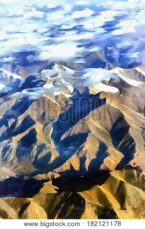 Mountain scape aerial view colorful painting, Xinjiang Uyghur Autonomous Region, China