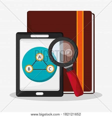 cellphone with web search related icons image vector illustration design