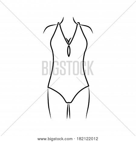 monochrome thin contour of woman in one piece swimsuit vector illustration