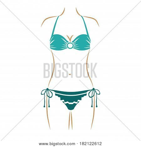 thin contour of woman in bikini with decorative lines in thong in aquamarine color vector illustration