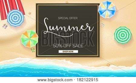 Advertising banner sales with typography. Summer sale 50 percent discount, buy now. Advertising on the background of a sandy beach with sea surf, sun umbrella, starfish and beach Mat