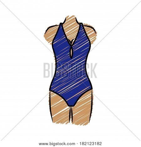 color pencil drawing of woman in one piece swimsuit dark blue vector illustration