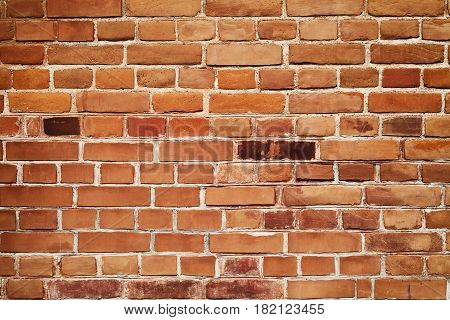 Wall of old red brickwork for your background.
