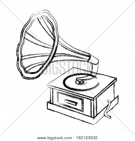 blurred silhouette gramophone sound reproduction system vector illustration