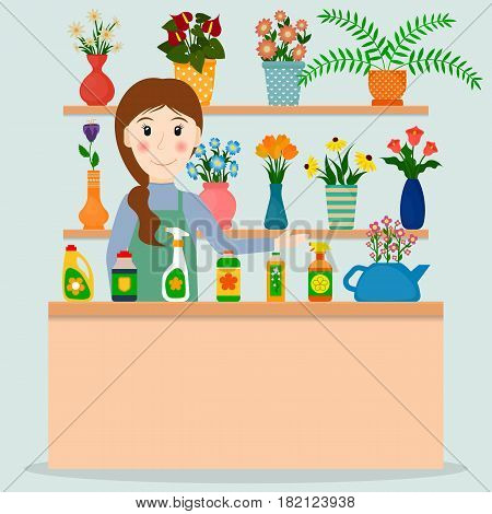 Flower shop florist or female salesperson with houseplants and potted flowers. EPS10 vector illustration in flat style.