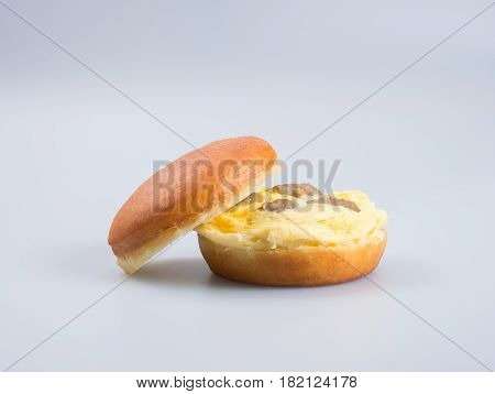 Burger Or Egg Burger On A Background.