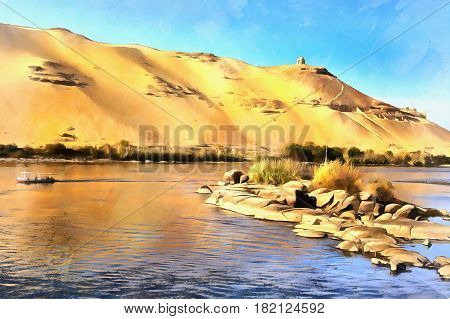 Colorful painting of desert on the Western bank of the Nile, Aswan, Egypt