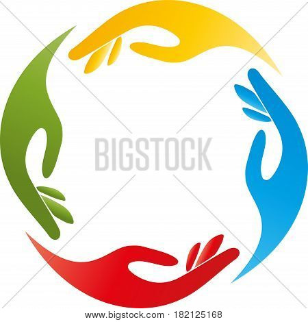 Four hands, colored, team and hands logo