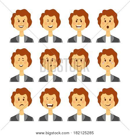 Set of avatars with female emotions including joy doubt and anger cartoon style isolated vector illustration