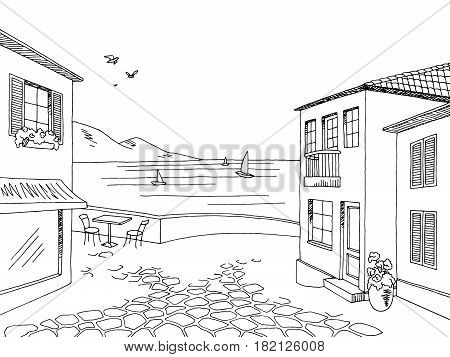 Street old town road graphic black white landscape sketch illustration vector