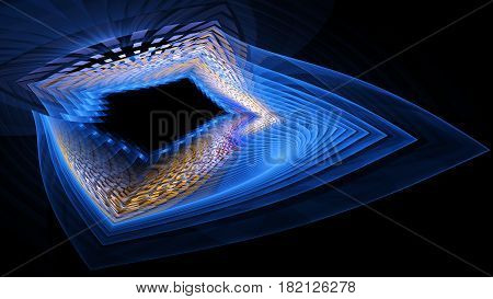 Colorful blue abstract fractal illustration for creative design