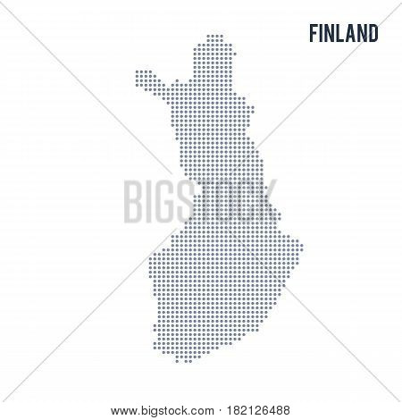 Vector dotted map of Finland isolated on white background . Travel vector illustration