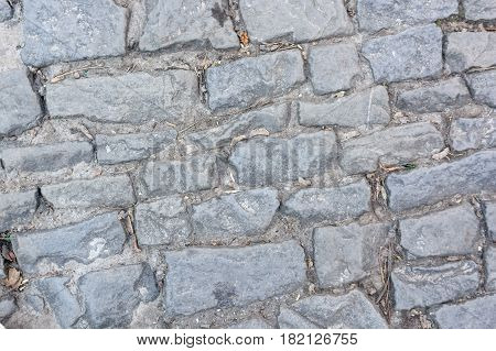 Close up stone path cobbles background texture