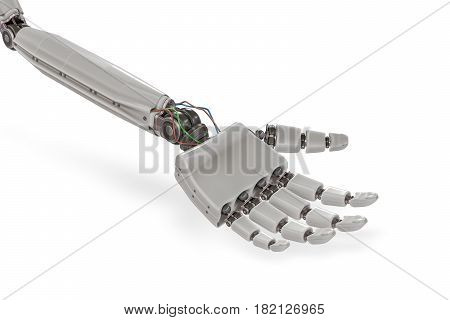 Cyborg Plastic Hand Isolated On White Background. 3D Rendered Il