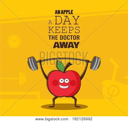 poster of happy apple exercise at a gym. Healhy lifestyle motivation poster. vector illustration