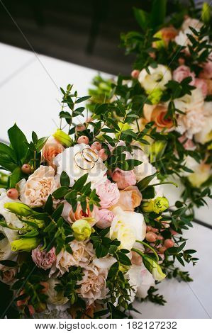 Beautiful Wedding Bridal Bouquet Of Flowers, Close-up, Traditional Classical Ceremonial Decoration