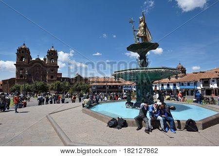 CUSCO PERU - September 05 2016: Unidentified people in Plaza De Armas of Cusco Peru on September 05 2016. In 1983 Cusco was declared a World Heritage Site by UNESCO.