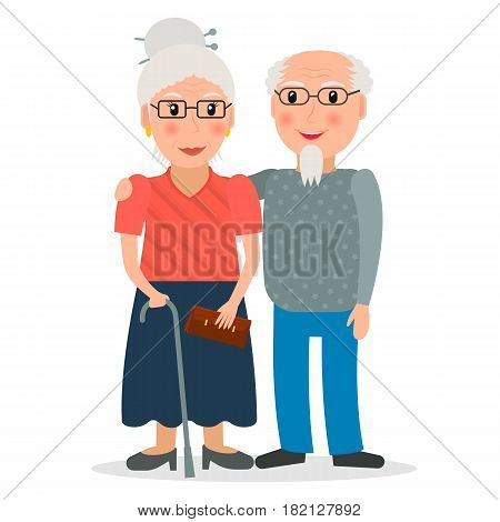 Old couple of retirees. Grandfather and grandmother. Retired people with glasses and walking stick. Elderly persons. EPS10 vector illustration in flat style.