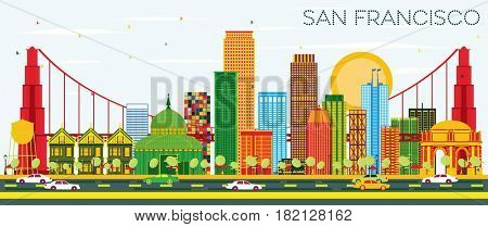 San Francisco Skyline with Color Buildings and Blue Sky. Business Travel and Tourism Concept with Modern Buildings. Image for Presentation Banner Placard and Web Site.