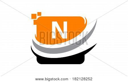 This vector describe about Logo Technology Motion Synergy Initial N
