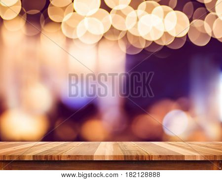 Empty Perspective Wood Plank Table Top With Abstract Bokeh Light Background,mock Up For Montage Of Y