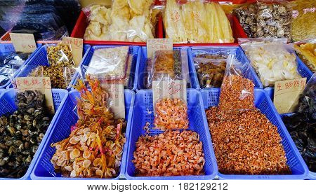 Traditional Asian Fish Market Stall, Full Of Dried Seafood