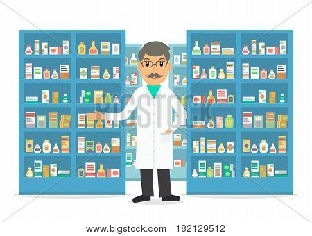 Smiling gesturing man pharmacist at the counter against shelves with drugs and medicines. Drugstore male salesperson at work. Vector illustration in flat style.