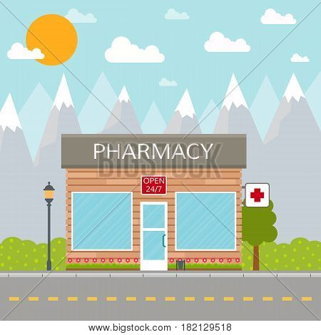 Pharmary building or drugstore on city background. EPS10 vector illustration in flat style.