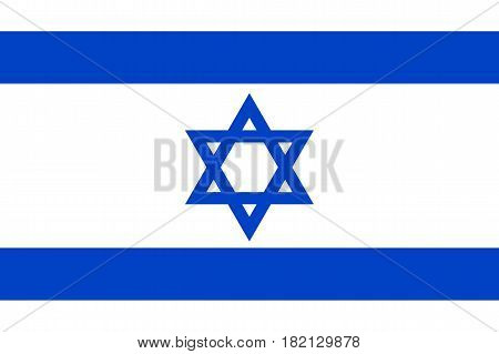 Israel national flag, blue hexagram on a white background, between two horizontal blue stripes, symbolic element, patriotic symbol of country, flat vector illustration