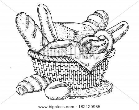 Bakery products engraving vector illustration. Scratch board style imitation. Hand drawn image.