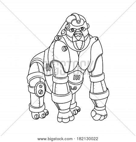 Steam punk style gorilla. Mechanical animal. Coloring book vector illustration.
