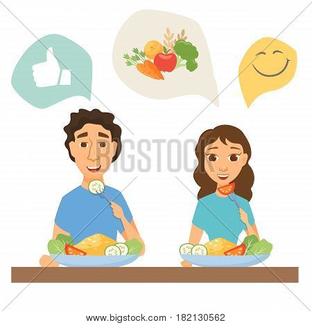 Couple eating healthy food. Man and woman having lunch, dinner or breakfast. Nutrition and diet infographics. Slim people in home or restaurant