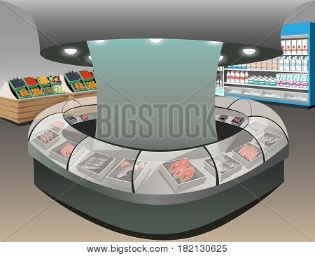 Fish department illustration. store interior with shoppers.