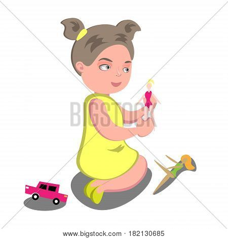 Girl playing with A doll. Isolated On White Background