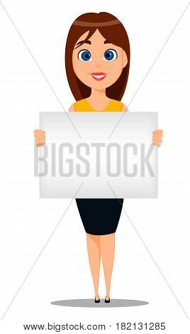 Business woman cartoon character. Young attractive businesswoman in smart casual clothes holding blank sign - stock vector