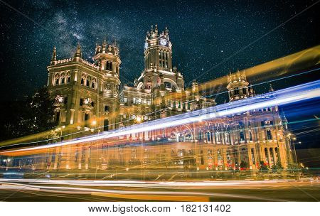 Plaza de Cibeles in Madrid at night, Spain, Travel Europe