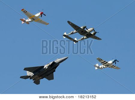 Historic Military Airplanes In Fly By