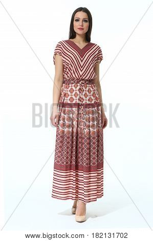 Indian Woman In Summer Ethnic Long Print Dress