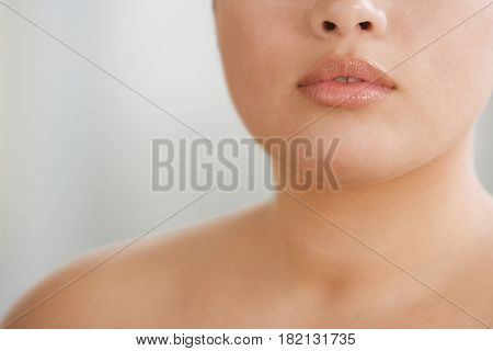 Close up of Hispanic woman's lips