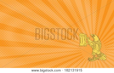 Business card showing Drawing sketch style illustration of an american bald eagle hoisting beer mug stein viewed from the side .