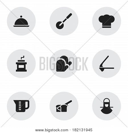 Set Of 9 Editable Meal Icons. Includes Symbols Such As Mocha Grinder, Kitchen Glove, Salver And More. Can Be Used For Web, Mobile, UI And Infographic Design.