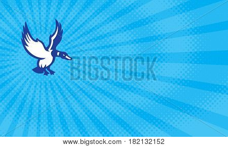 Business card showing Illustration of a mallard duck with its wings flapping landing or about to land viewed from the side set on isolated white background done in retro style.