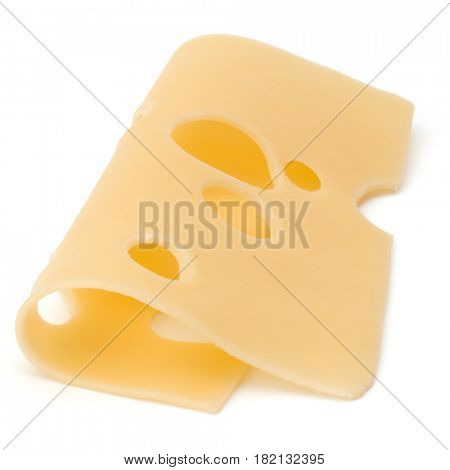 one Cheese slice isolated on white background