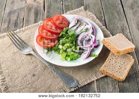 Snack in rural style. Fresh vegetables: tomatoes green onions onions and a sprat on a plate. Nearby rye bread and fork. Close up selective focus