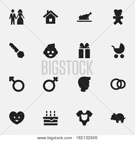 Set Of 16 Editable Family Icons. Includes Symbols Such As Lock, Patisserie, Toy And More. Can Be Used For Web, Mobile, UI And Infographic Design.