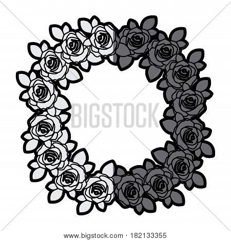 gray scale silhouette crown flowered roses with leaves vector illustration